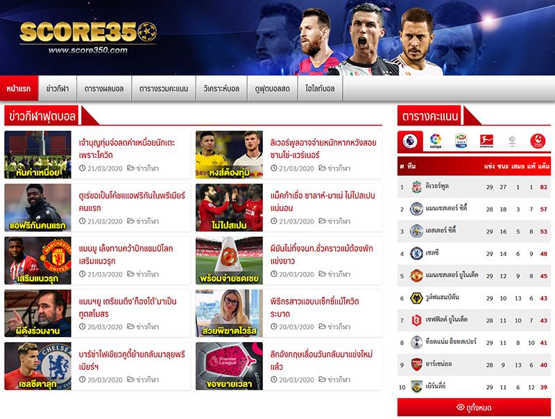 เว็บผลบอลสด Score350 ดูบอลออนไลน์ผ่านเว็บได้ทุกคู่
